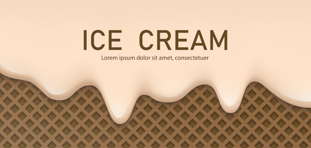 Creamy liquid, yogurt cream, ice cream or milk melting and flowing on a chocolate waffle. Vanilla creamy drips. Simple cartoon design. Background for banner or poster. Realistic vector illustration.