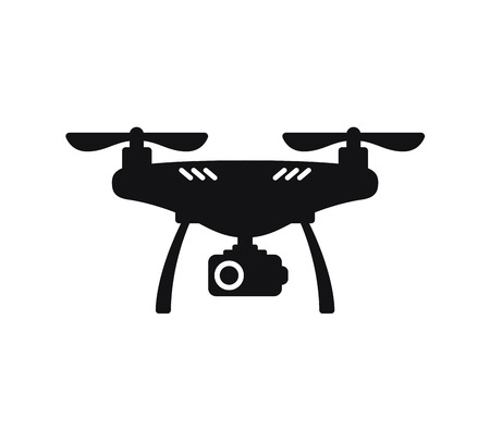 Cute cartoon drone with camera for photographing and recording video isolated on white background. Aerial quadcopter concept with shadow. Simple design icon or logo. Flat style vector illustration.