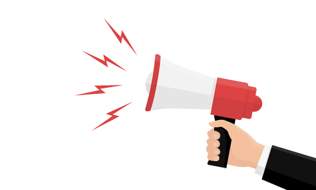 Hand with megaphone isolated on white background. Template background concept. Cartoon simple design icon and logo. Social media marketing concept. Place for text. Flat style vector illustration.
