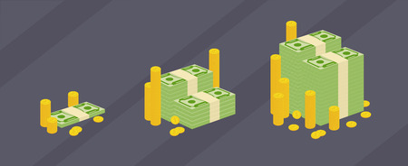 Set a various kind of money. Packing in bundles of bank notes and gold coins. Flat vector cartoon money illustration. Objects isolated on a dark white background. Profit, finance progress.