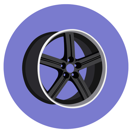 Beautiful cartoon detailed black silver car wheel. Vector ilustration isolated on white background for icon design. Isometric side.