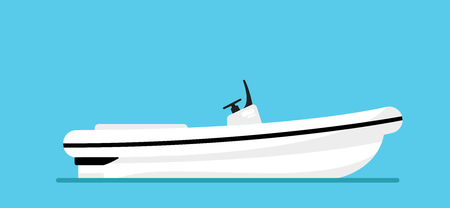 Ship at the sea, modern boat shipping in ocean. Beautiful elite, luxury yacht isolated on blue background. Realistic simple design. Icon and logo. Cartoon flat style vector illustration.