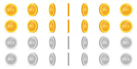 Money set isolated on white background. Shiny golden coins. Beautiful template. Simple cartoon design. Realistic elements. Flat style vector illustration.