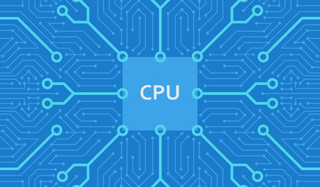 Abstract circuit motherboard texture. Electronic computer hardware technology. Digital chip. Tech science background. Integrated communication processor. Blue color. Flat style vector illustration. Standard-Bild - 114297474