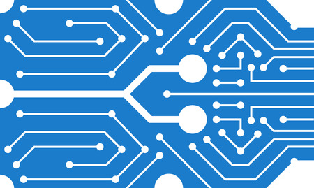 Abstract circuit motherboard texture. Electronic computer hardware technology. Digital chip. Tech science background. Integrated communication processor. Blue color. Flat style vector illustration. Standard-Bild - 114297476