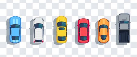 Cars set from above, top view isolated. Cute beautiful cartoon transport with shadows. Modern urban civilian vehicle. View from the bird's eye. Realistic car design. Flat style vector illustration. Ilustracje wektorowe