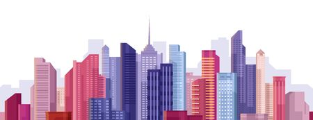 Cityscape. City landscape. Buildings panorama. Simple modern cartoon design. Realistic silhouette. Urban view with skyscrapers. Beautiful colorful template. Flat style vector illustration. 向量圖像