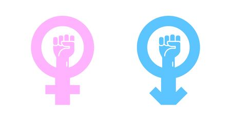 Gender icons isolated on a white backgrounds. Male and female, man and woman symbols. Blue and pink colors. Raise fists. Simple cute design. Flat style vector illustration. Ilustração