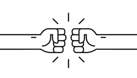 Fist bumping. Cute simple cartoon design. Flat style vector illustration. 向量圖像