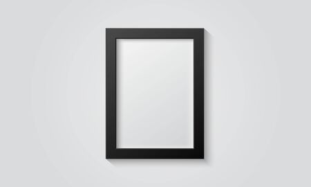 Picture frame isolated on a wall. Black and white color. Realistic modern template. A4 vertical format. Mock up for pictures or photo. Beautiful minimal clean design. vector illustration.
