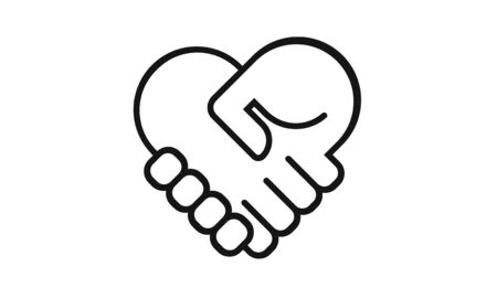 Handshake heart icon isolated on a white background. Simple modern design. Heart symbol, hands. Logo on business, cooperate, teamwork or partnership topics. Flat style vector illustration.