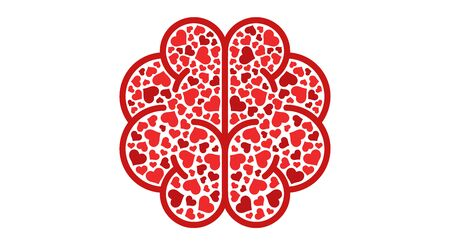 Hearts in brain isolated on a whit background. Fall in love. Conflict between emotions and rationality. Icon or logo. Red color. Simple modern design. Valentine's day. Flat style vector illustration.