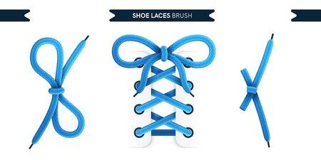 Schnürsenkel Bürstensatz isoliert auf weißem Hintergrund. Blaue Farbe. Realistische Spitzenknoten und Schleifen. Modernes schlichtes Design. Flache Artvektorillustration.