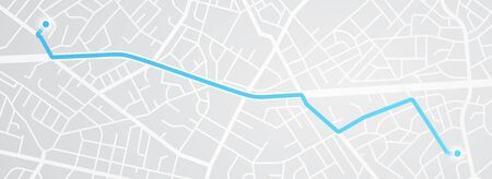 City map navigation. GPS navigator. Distance. Point marker icon. Top view, view from above. Abstract background. Cute simple design. Flat style vector illustration. Ilustração