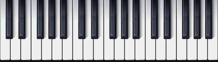 Piano keyboard seamless. Top view. Realistic detailed shaded piano keys. Simple beautiful design. Musical background. Music instrument. Flat style vector illustration.
