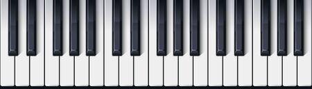 Tastiera di pianoforte senza soluzione di continuità. Vista dall'alto. Tasti di pianoforte ombreggiati realistici e dettagliati. Design semplice e bello. Sottofondo musicale. Strumento musicale. Illustrazione vettoriale di stile piano.