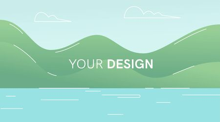 Landscape background. Ocean, sea, mountains, beach. Flat style. Modern trendy minimalistic and simple design. Bright green summer, spring colors. Cartoon style. Vector illustration.