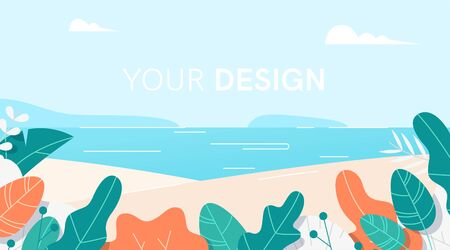 Leaves border set. Landscape background. Flat cartoon style. Plants, flowers, bushes. Modern trendy minimalistic and simple design. Bright colorful summer, spring background. Vector illustration. 向量圖像