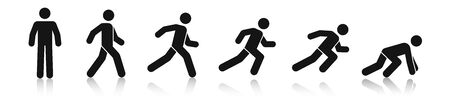 Stick figure walk and run. Running animation. Posture stickman. People icons set. Man in different poses and positions. Black silhouette. Simple cute modern design. Flat style vector illustration. 向量圖像