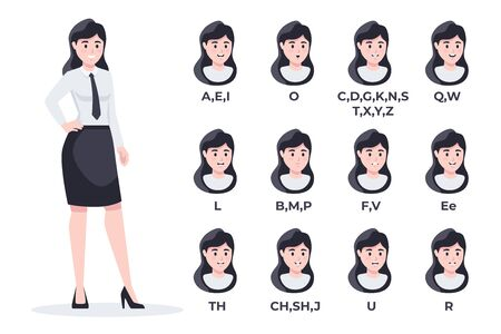 Human mouth set. Woman businesswoman lip sync collection for animation and sound pronunciation. Character face elements. Emotions, smiling. Simple cartoon design. Flat style vector illustration.