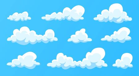 Clouds set isolated on a blue background. Simple cute cartoon design. Modern icon collection. Realistic elements. Flat style vector illustration. Vecteurs