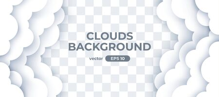 Sky with white clouds on transparent background. Border of clouds. Paper cut. Simple cartoon design. Banner, poster, flyer template. Flat style vector eps10 illustration.  イラスト・ベクター素材