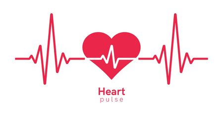 Heart pulse. Heartbeat line, cardiogram. Red and white colors. Beautiful healthcare, medical background. Modern simple design. Icon.  Flat style vector illustration. Foto de archivo - 142990815
