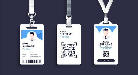 Vector id card template with clasp and lanyard. Blue and white color mock up set. Modern colorful icon collection. Employee ID. Simple realistic design. Cute cartoon style. Flat style illustration. Vector Illustration