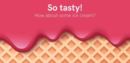 Seamless creamy liquid, yogurt cream, ice cream or milk melting and flowing on a waffle. Burgundy cherry creamy drips. Simple cartoon design. Background for banner. Realistic vector illustration.