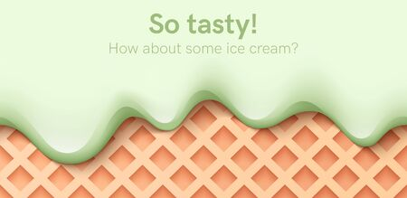 Seamless creamy liquid, yogurt cream, ice cream or milk melting and flowing on a waffle. Green pistachio drips. Simple cartoon design. Background for banner or poster. Realistic vector illustration Foto de archivo - 142990820