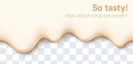 Seamless creamy liquid, yogurt cream, ice cream or milk melting and flowing on transparent background. White vanilla drips. Simple cartoon design. Template for banner. Realistic vector illustration.