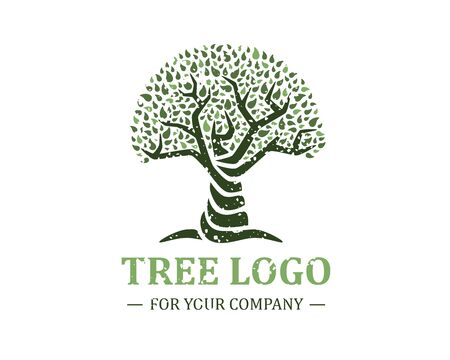 Tree logo isolated on a white background. Classic design. Green and brown colors. Lettering. Space for text. Leaves and roots. Simple modern concept. Circle form. Flat style vector illustration. Foto de archivo - 142990930