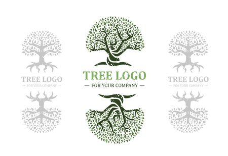 Tree logo isolated on a white background. Classic design. Green and brown colors. Lettering. Space for text. Leaves and roots. Simple modern concept. Circle form. Flat style vector illustration. Foto de archivo - 142990931