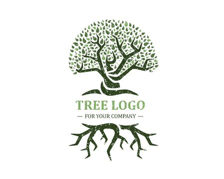 Tree logo isolated on a white background. Classic design. Green and brown colors. Lettering. Space for text. Leaves and roots. Simple modern concept. Circle form. Flat style vector illustration. Foto de archivo - 142990937