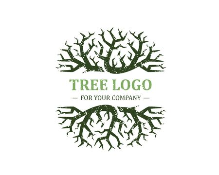 Tree logo isolated on a white background. Classic design. Green and brown colors. Lettering. Space for text. Leaves and roots. Simple modern concept. Circle form. Flat style vector illustration. Foto de archivo - 142990938