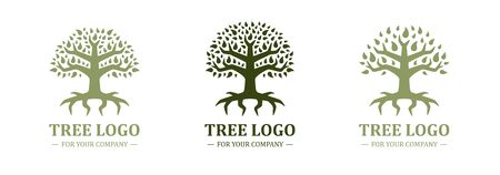Tree logo isolated on a white background. Classic design. Green color. Lettering. Space for text. Leaves and roots. Simple modern concept. Circle form. Flat style vector illustration.