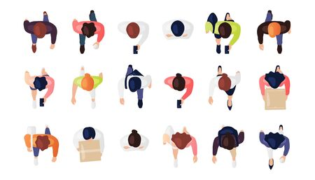 Top view of people set isolated on a white background. Men and women. View from above. Male and female characters. Simple flat cartoon design. Realistic vector illustration.