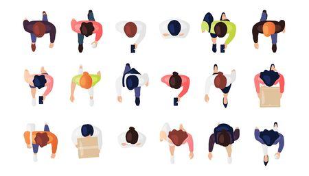 Vista superior del conjunto de personas aislado en un fondo blanco. Hombres y mujeres. Vista desde arriba. Personajes masculinos y femeninos. Diseño de dibujos animados plano simple. Ilustración vectorial realista.