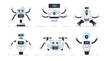 Robots set isolated. Cute cartoon chat bot design. Robot toys collection. Funny simple characters. Urban modern template. Retro vintage design. Realistic 3d objects. Flat style vector illustration.