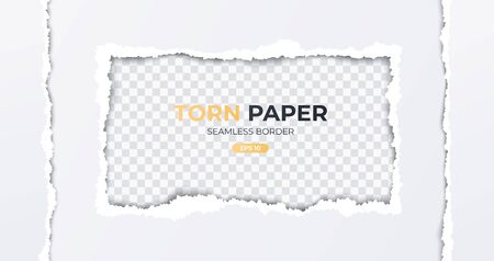 Seamless torn ripped paper layered isolated. Rectangular paper scrap. White color. Transparent background. Realistic template. Simple modern design. Flat style vector illustration.