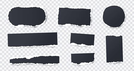 Seamless torn ripped paper layered isolated. Stripes, round, rectangular paper scraps. Black color. Transparent background. Realistic template. Simple modern design. Flat style vector illustration.