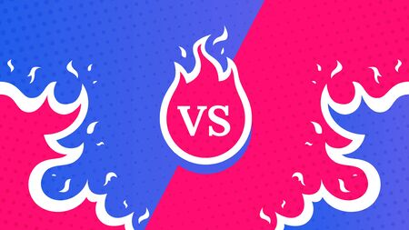 Vs screen. Blue and red abstract versus background. Fire concept. Fight template. Simple modern comic design. Flat style vector illustration.