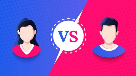 Vs screen. Blue and red abstract versus background. Man vs woman. Male and female avatars. Fight template. Simple modern comic design. Flat style vector illustration.