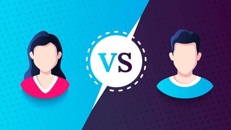 Vs screen. Blue and red abstract versus background. Man vs woman. Male and female avatars. Fight template. Simple modern comic design. Flat style vector illustration. Foto de archivo - 142991135