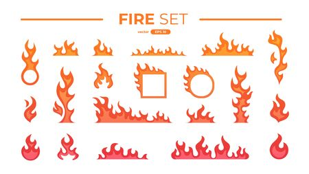 Fire flame set isolated. Icons. Flat style vector illustration. Flame, fire, torch, campfire. Cute cartoon design. Orange and yellow colors. Realistic template. Vectores