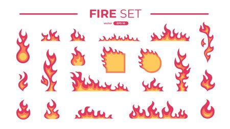Fire flame set isolated. Icons. Flat style vector illustration. Flame, fire, torch, campfire. Cute cartoon design. Orange and yellow colors. Realistic template. Foto de archivo - 144753837