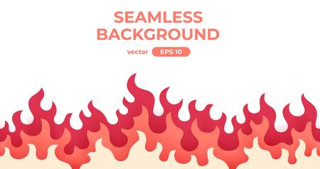 Seamless fire, flame frame border. Flat style vector illustration. Flame, fire, torch, campfire. Cute cartoon design. Red, orange and yellow colors. Realistic template. Foto de archivo - 144753840