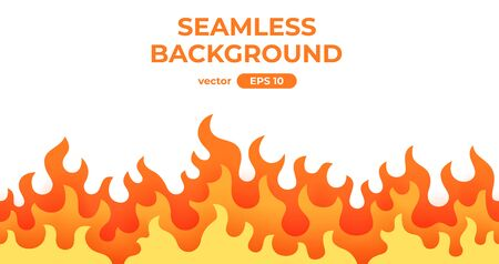 Seamless fire, flame frame border. Flat style vector illustration. Flame, fire, torch, campfire. Cute cartoon design. Red, orange and yellow colors. Realistic template. Foto de archivo - 144753846
