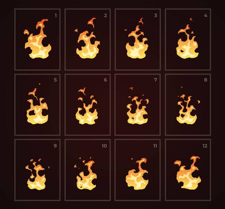 Looped fire animation. Sprites sheet. Flat style vector illustration. Flame, fire, torch, campfire. Cute cartoon design. Orange and yellow colors. Realistic template.