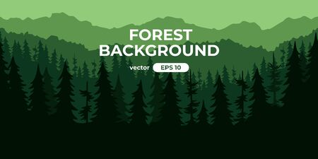 Seamless forest landscape. Colorful silhouette with trees, pines, firs, mountains and hills. Layered background with parallax effect. Flat style vector illustration. Simple cartoon design. Foto de archivo - 144753850